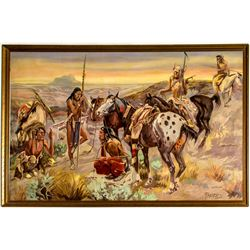 """""""First Wagon Trail"""" Painting (after C. M. Russell) by Franz Trevors"""