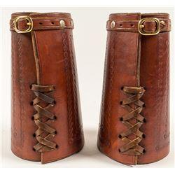 Leather Cuffs w/ Tooled Buffalo Image