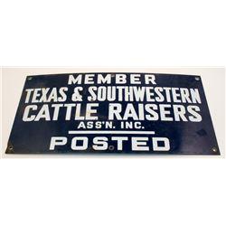 Texas & Southwestern Cattle Raisers Assoc. Porcelain Sign
