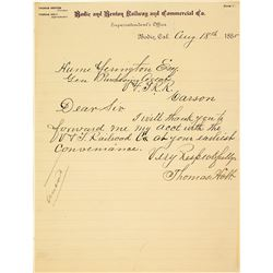 Bodie & Benton Railroad Letter to Virginia & Truckee Railroad