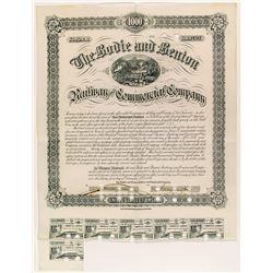 Bodie & Benton Railway and Commercial Company Bond, 1886
