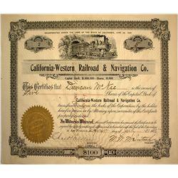 California Western Railroad & Navigation Company Stock Certificate