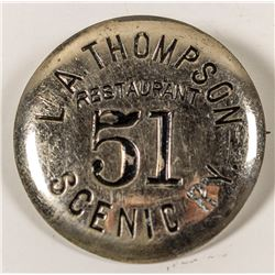 """L. A. Thompson Railroad Badge (now known as the """"Roller Coaster"""")"""