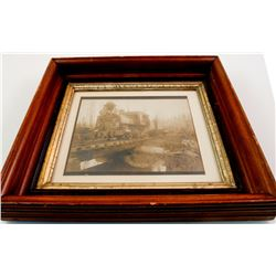 Framed Photograph of Early Timber Railroad