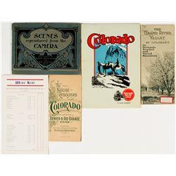 Colorado Railroad Pamphlets incl. Wine List & 1892 Map