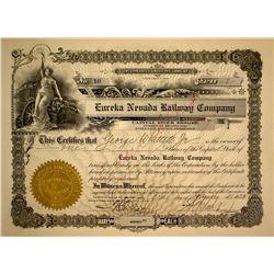 Rare Eureka Nevada Railroad Company Stock Certificate