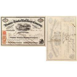 Virginia & Truckee Railroad: Sharon, Ralston, Mills, Barren and Bell - Premier Autograph Stock Cert.