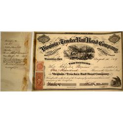 Virginia & Truckee Railroad Stock Certificate Issued to Bonner, Signed by Sharon