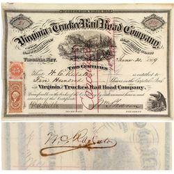Virginia & Truckee Railroad Stock Certificate: Ralston and Sharon Signatures