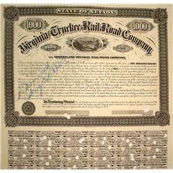 Virginia & Truckee Railroad Bond: William Sharon Signature