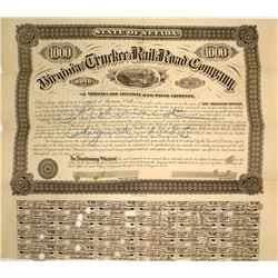 Second Virginia & Truckee Railroad Bond Signed by William Sharon
