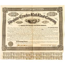 Third Virginia & Truckee Railroad Bond Signed by Sharon