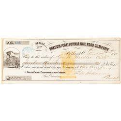 Oregon & California Railroad Company Revenue Check signed by Ben Holladay