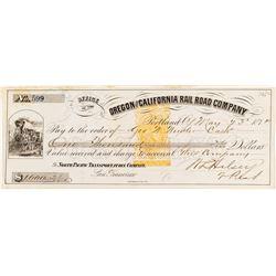 Oregon & California Railroad Company Revenue Check signed by W.L. Halsey