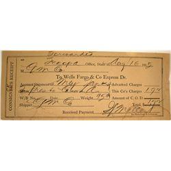 Rare Death Valley Wells Fargo Consignor's Receipt