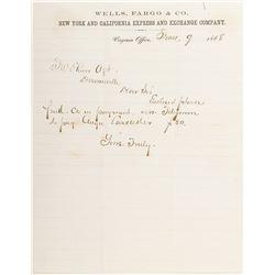 Early Wells Fargo Virginia City Letterhead