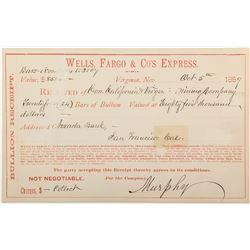 Wells, Fargo Express Receipt for Comstock Bullion