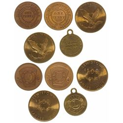 Five Lewistown Fraternal Tokens