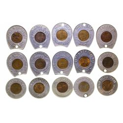 15 Various Encased Lincoln Penny Montana Tokens