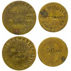 Two Camp Brown Post Trader Tokens (Camp Brown, Wyoming)