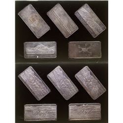 Set of Five Silver Art Bars from Idaho