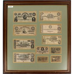 Framed Confederate Currency Collection