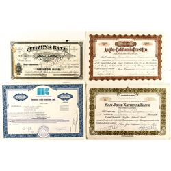 California Bank Stock Certificates