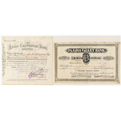 Two California Banking Stock Certificates