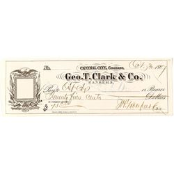 Rare Check for Geo. T. Clark & Co. (Clark & Gruber pioneer gold coins)