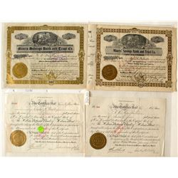 Four Bank Stock Certificates