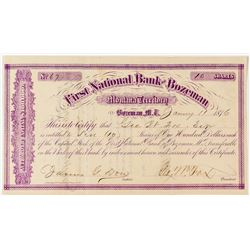 Territorial First National Bank of Bozeman Uncancelled Stock Certificate