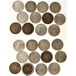 Twelve Silver Dollars (Peace & Morgan)