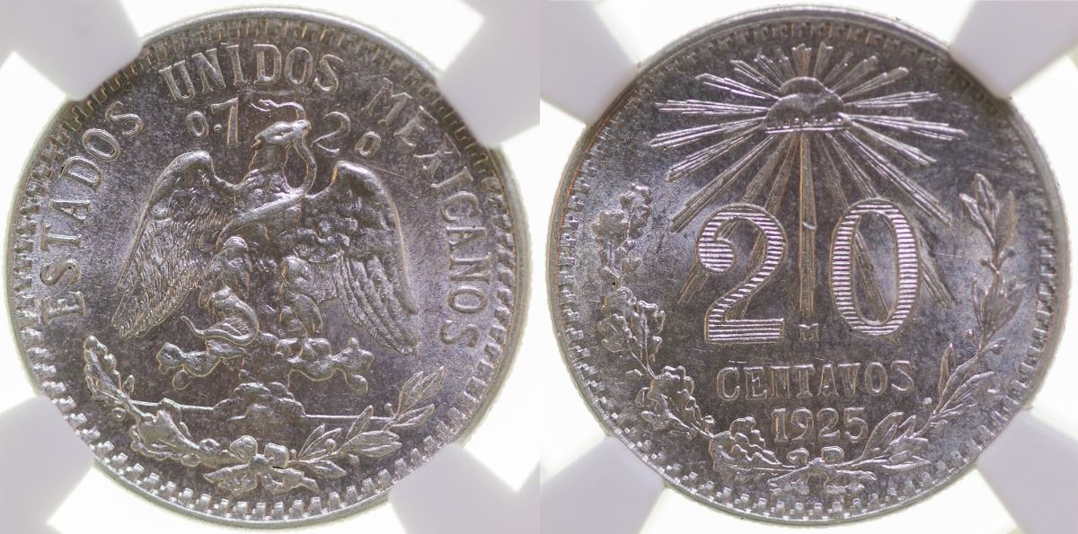 MEXICO 1925 AVERAGE CIRCULATED  50 CENTAVOS .720 SILVER