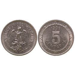 Five centavo Mexican coin (Nickel, 1906)
