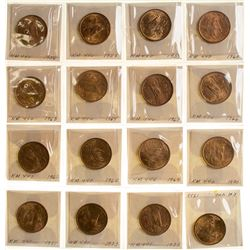 Group of 20 centavo Mexican coins