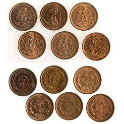 Group of centavo Mexican coins