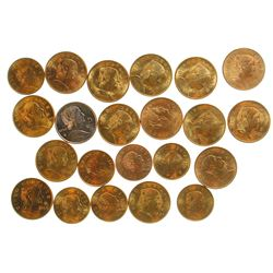 Group of cinco centavo Mexican coins