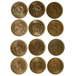 Group of 10 centavo Mexican coins