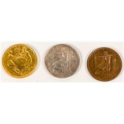 Pan. Pacific International Expo. Medals: HK-399, HK-400 & HK-401