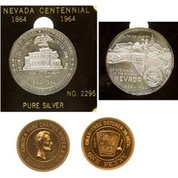 Nevada Centennial Silver Medal and Chicago Masonic Penny