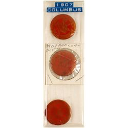 ANA: Three 1907 Red Celluloid Badges
