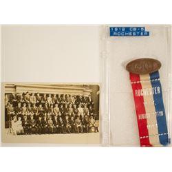 ANA 1912 Rochester New York Convention Badge & Original Real Photo Postcard