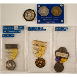 ANA 1940 Detroit Convention & 1941 Philadelphia Convention Badges (plus medals)