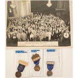 ANA 1948, 1949, & 1950 Convention Badges (plus Photograph)