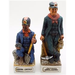 Two Coal Mining Whiskey Decanters