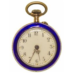 Gold and Blue Enamel Pendant Watch