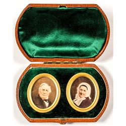 Leatherette Box with Two Oval Photographs