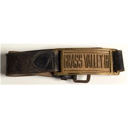 """Belt with Metal """"Grass Valley Hi' in middle"""