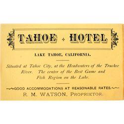 Tahoe Hotel Business Card