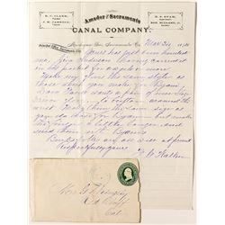 Amador & Sacramento Canal Co. Letterhead, Datelined Michigan Bar with cover